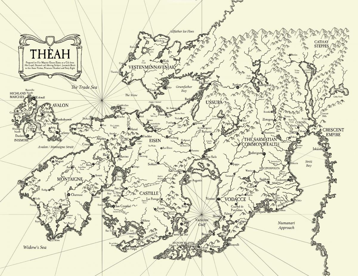 Map of Theah from the Avalon Court